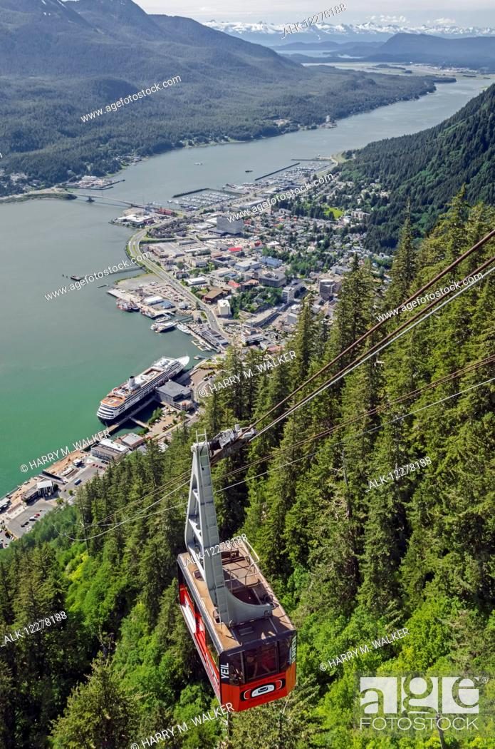 Stock Photo: Aerial view from the Mt. Roberts Tramway of Gastineau channel, Douglas Island, and Juneau with Holland America cruise ship visible, Southeast Alaska.