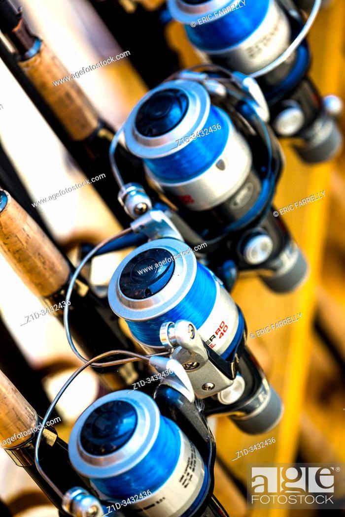 Imagen: Fishing equipment for sale. Norfolk Broads. England UK.