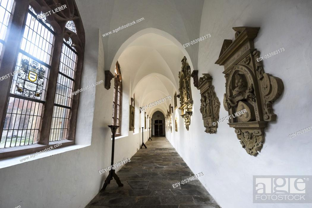 Stock Photo: Cathedral St. Liborius in Paderborn, cloister. North Rhine-Westphalia, Germany.