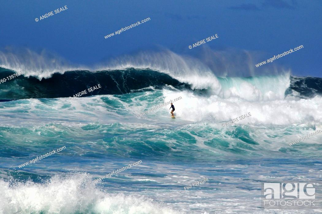 Stock Photo: Surfer on wave, Sunset Beach, North Shore, Oahu, Hawaii, USA.