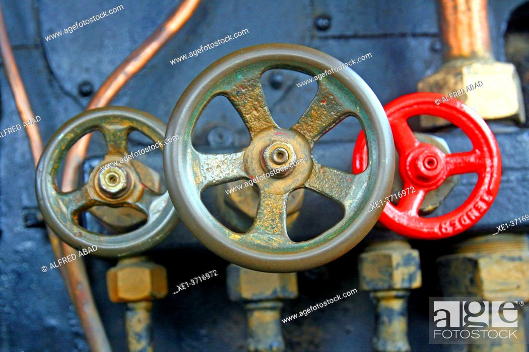 Stock Photo: Boiler valves of an old railway locomotive, Museu del Ferrocarril de Vilanova i la Geltrú, Catalonia, Spain.