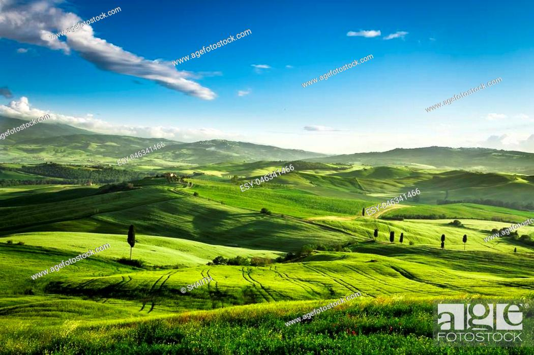 Stock Photo: Beautiful view of the sunset over the valley in Tuscany.