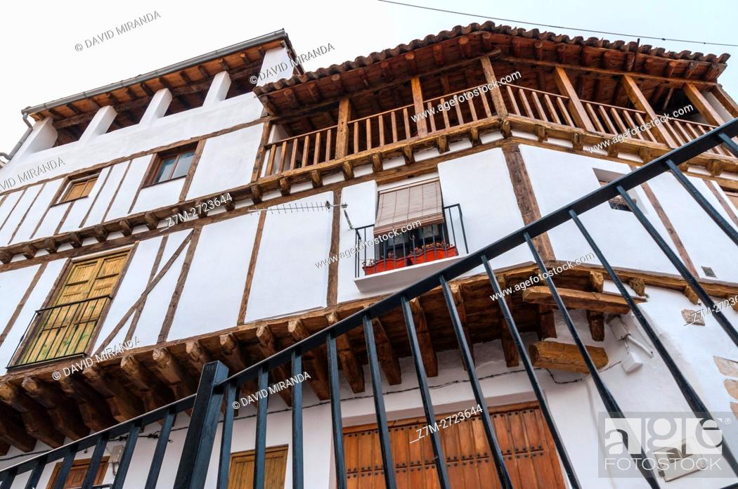 Stock Photo: Traditional architecture, Enguídanos. Cuenca province, Castile la Mancha, Spain.
