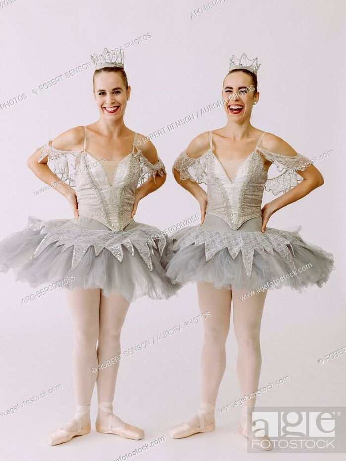 Stock Photo: Two ballet dancers standing side by side.
