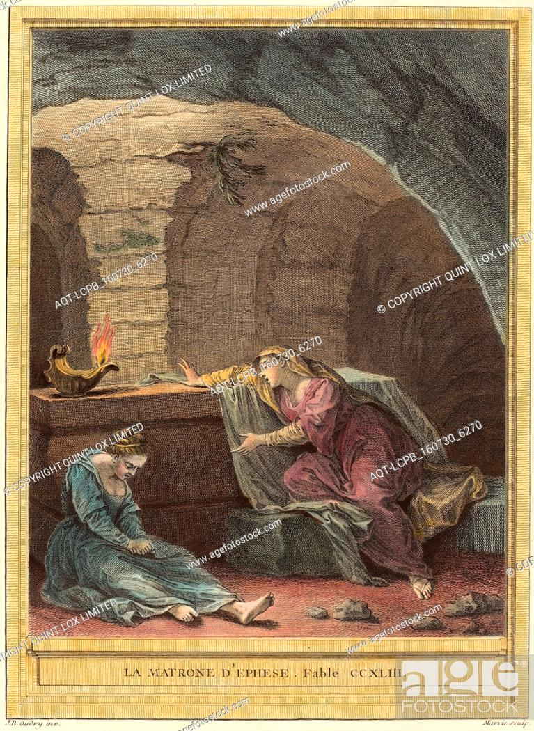 Imagen: Martin Marvie after Jean-Baptiste Oudry (French, 1713 - 1813), La matrone d'Ephese, The Matron of Ephese, published 1759, hand-colored etching.