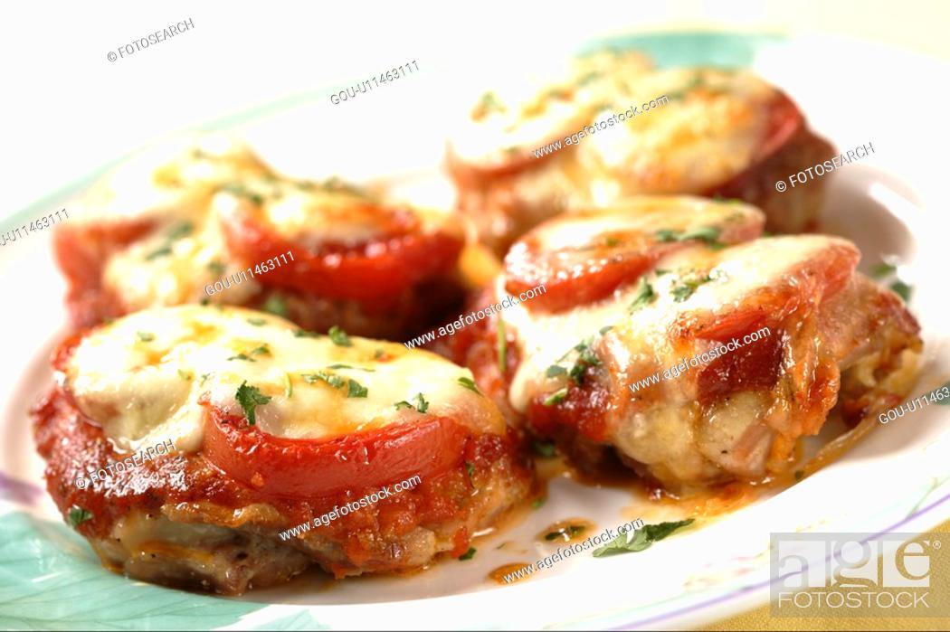 Stock Photo: Grilled Chicken And Tomato With Mozzarella Cheese.