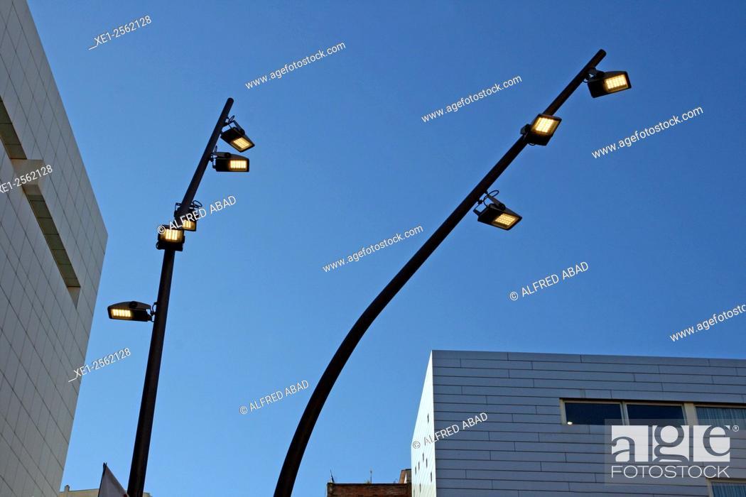 Stock Photo: Streetlights, Barcelona, Catalonia, Spain.