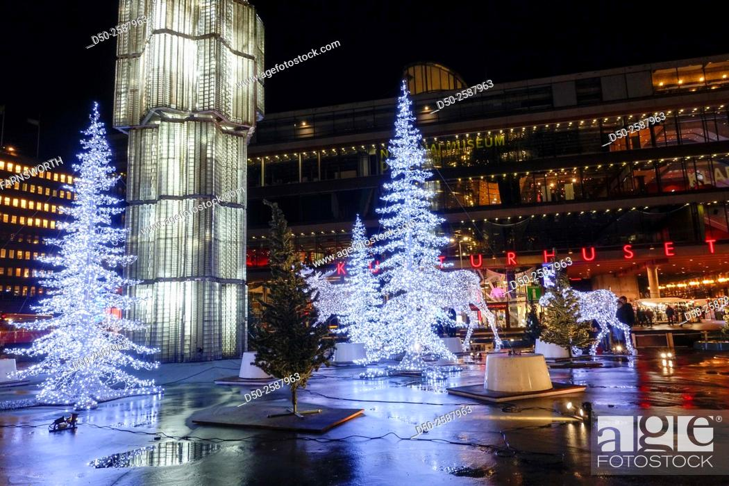 Swedish Christmas Decorations.Stockholm Sweden Christmas Decorations On Sergelstorg In