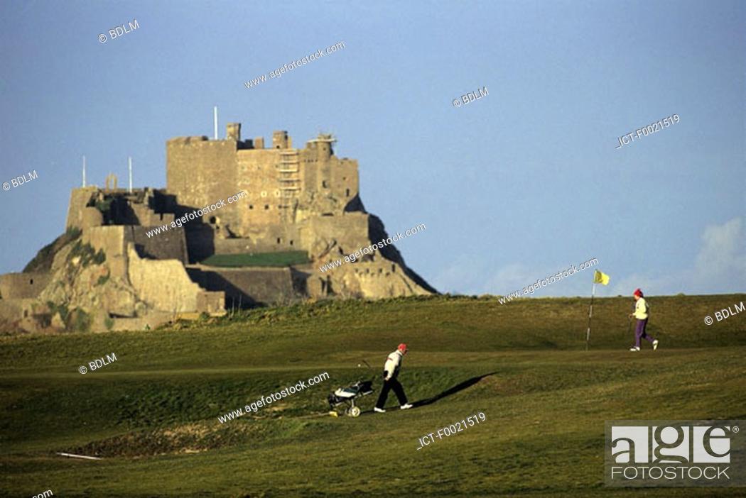Stock Photo: Channel Islands, Jersey, Montorgueil castle, golf.
