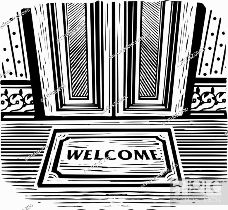 Stock Photo: Welcome mat in front of a door, black and white.