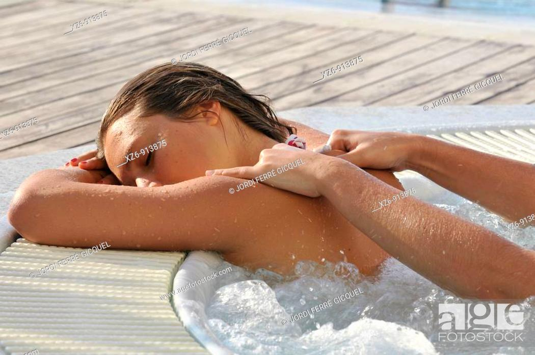 Stock Photo: massage in the jacuzzi.