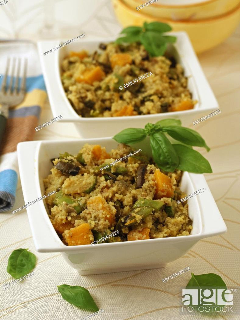 Stock Photo: Couscous with vegetables.