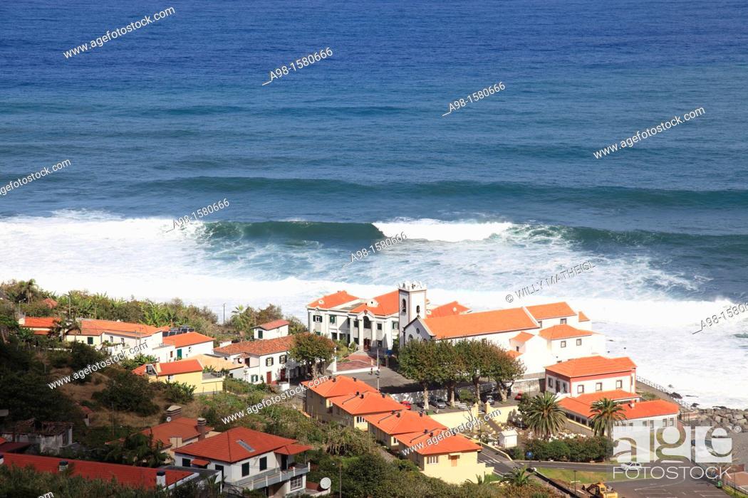 Stock Photo: City and Sanctuary church Senhor Bom Jesus of Ponta Delgada at the Atlantic Ocean, Madeira, Portugal, Europe.