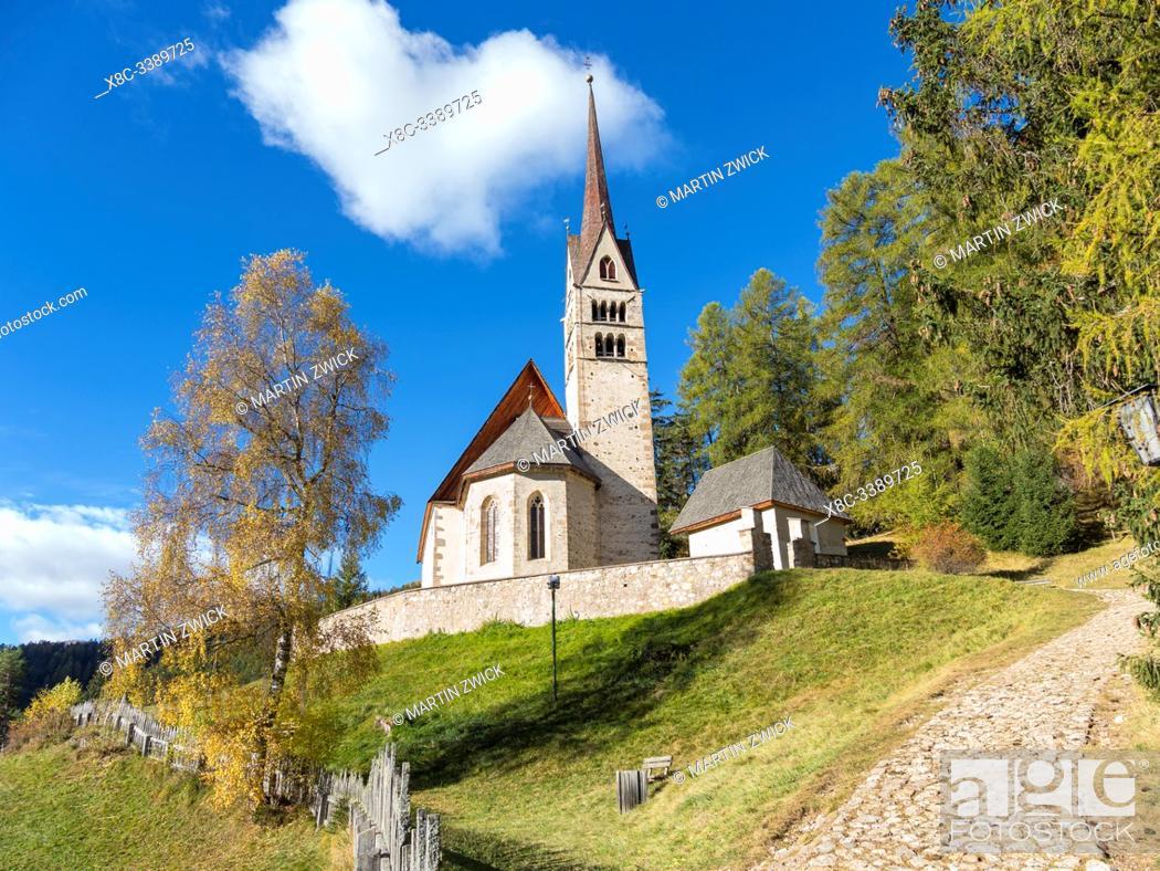 Stock Photo: Church San Giuliana. Vigo di Fassa (Vich) in valley Val di Fassa in the Dolomites. Europe, Central Europe, Italy.