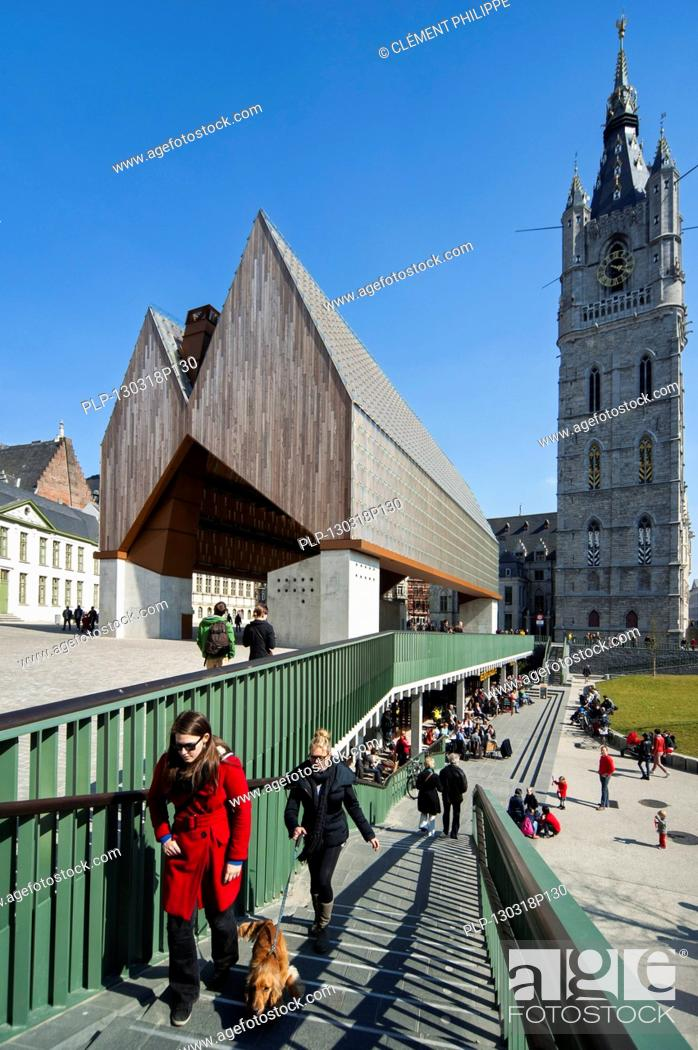 Stock Photo: The modern Gentse Stadshal / Ghent Market Hall and belfry in the historic center of Ghent, Belgium.