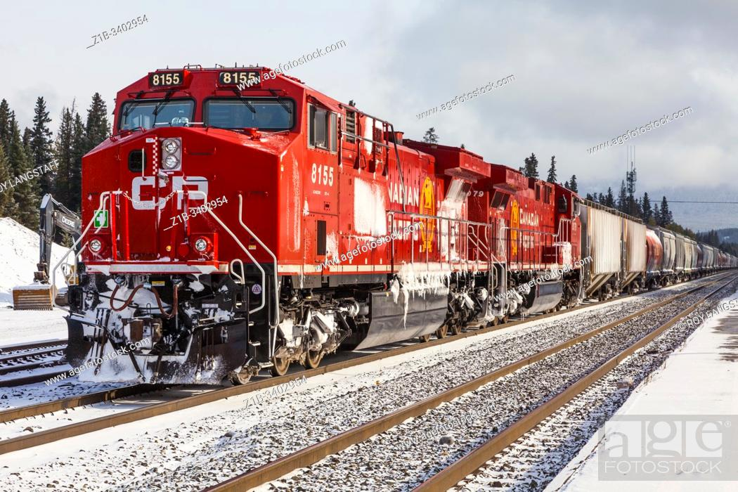 Stock Photo: Bright red Canadian Pacific Locomotives at the railway station in Banff Alberta Canada.