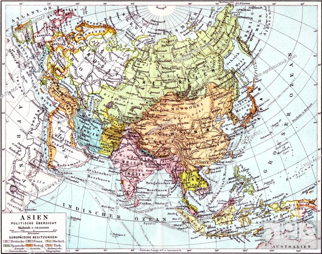 German map of Europe; Russia and Asia dated to 1890. The ...