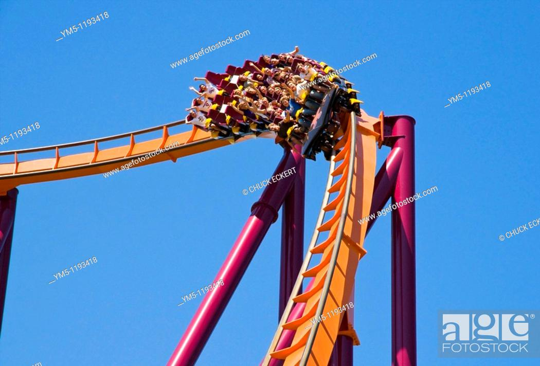 Stock Photo: Roller coaster Raging Bull making turn for downhill at Six Flags Great America in Gurnee, Illinois, USA.