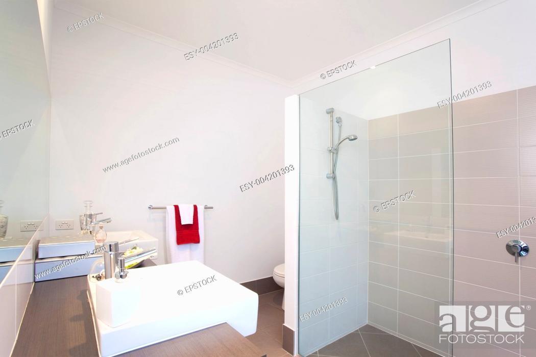Stock Photo: bathroom in modern townhouse.