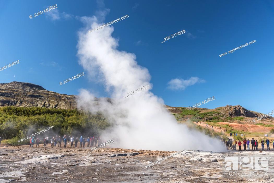 Stock Photo: Geyser. Boiling waters. Geothermalism Geysir Golden Circle. Iceland.