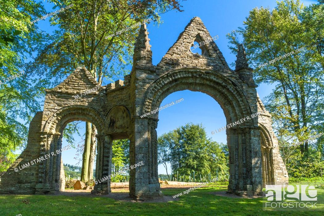 Stock Photo: Shobdon aches consisting of chancel arch and doorways from an original Norman church dating from c1135, Shobdon Herefordshire UK. July 2020.