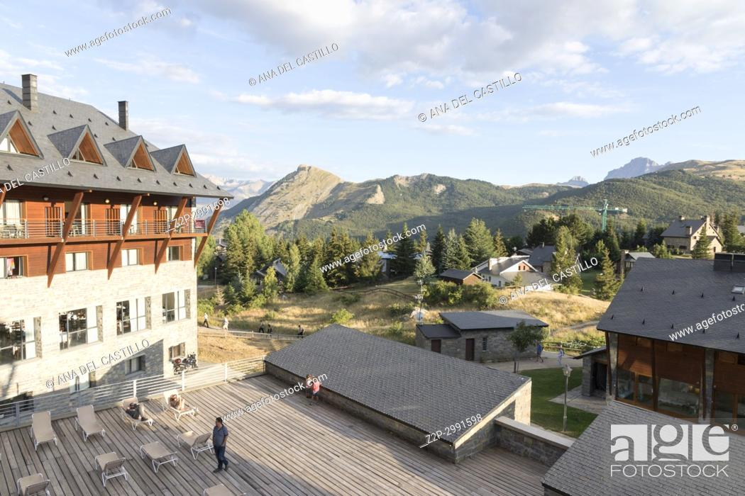 Stock Photo: Hotel in Jaca valley Pyrenees mountains Huesca Aragon Spain.