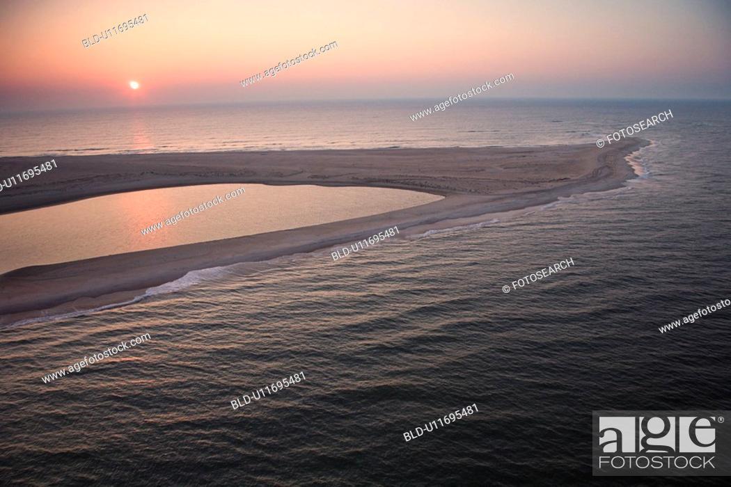 Stock Photo: Scenic aerial view of sandbar at Baldhead Island, North Carolina at dusk.