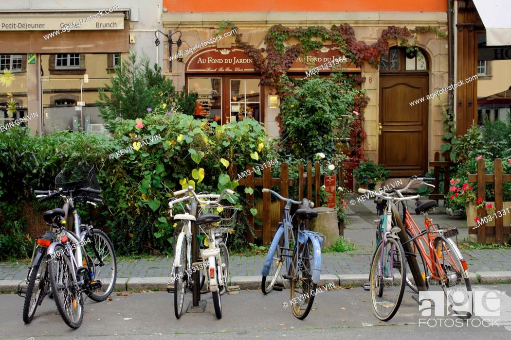 Stock Photo: Street scene with bicycles, Strasbourg, Alsace, France.