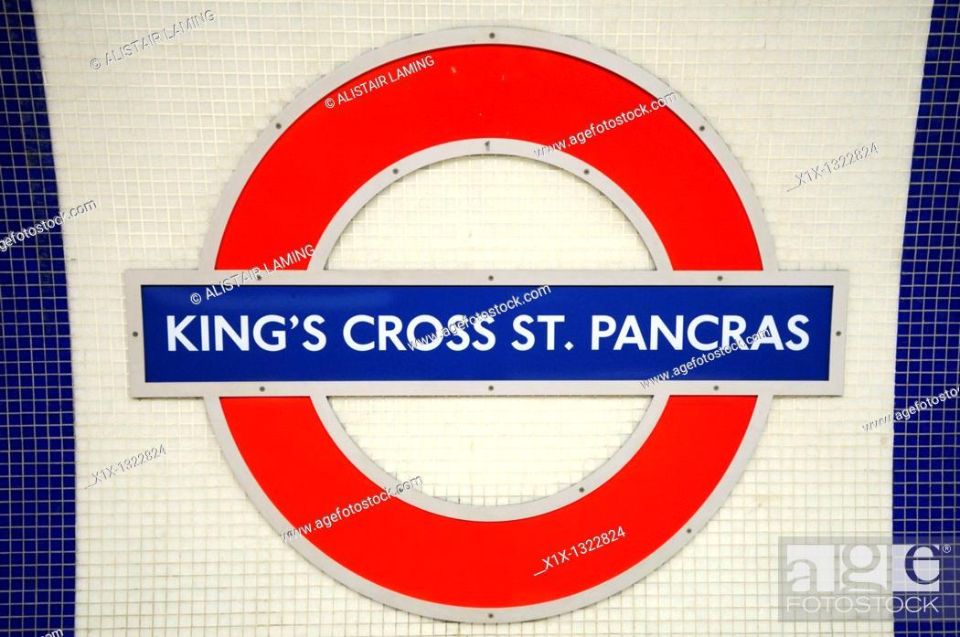 Stock Photo: King's Cross St Pancras Underground Tube Station Symbol, London, England, UK.