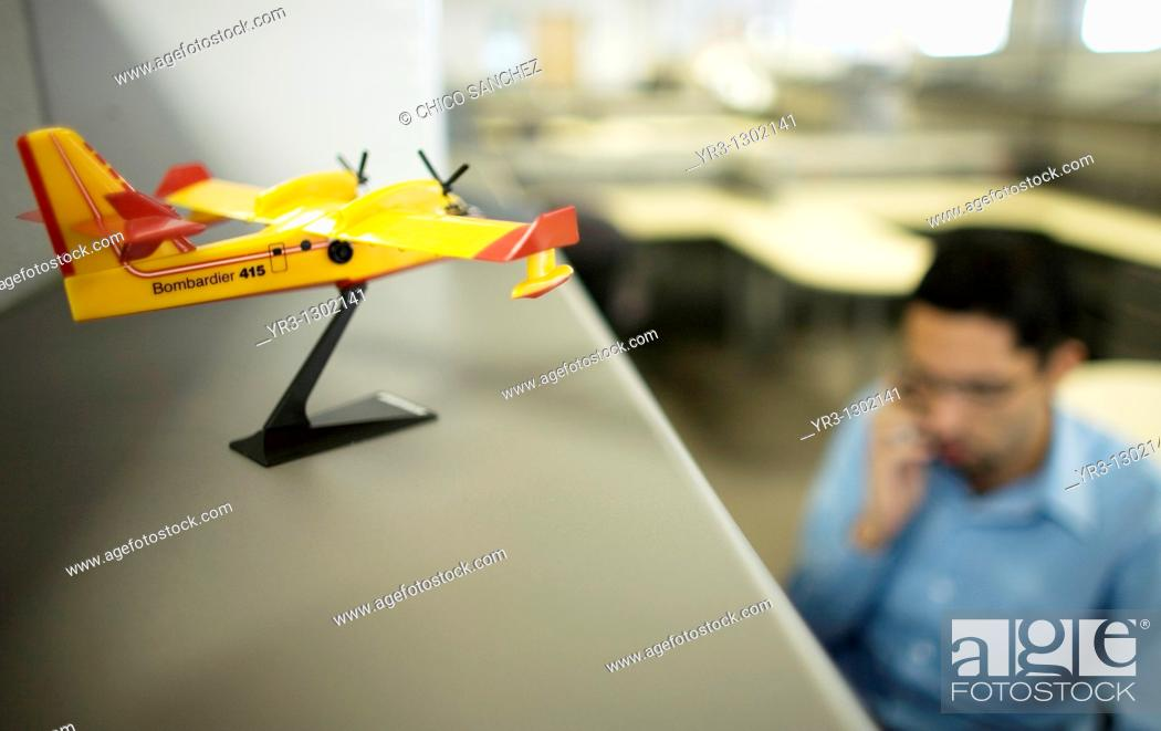 Stock Photo: A miniature plane decorates the offices of the Bombardier Aerospace plant in Queretaro, Mexico, March 2, 2008.