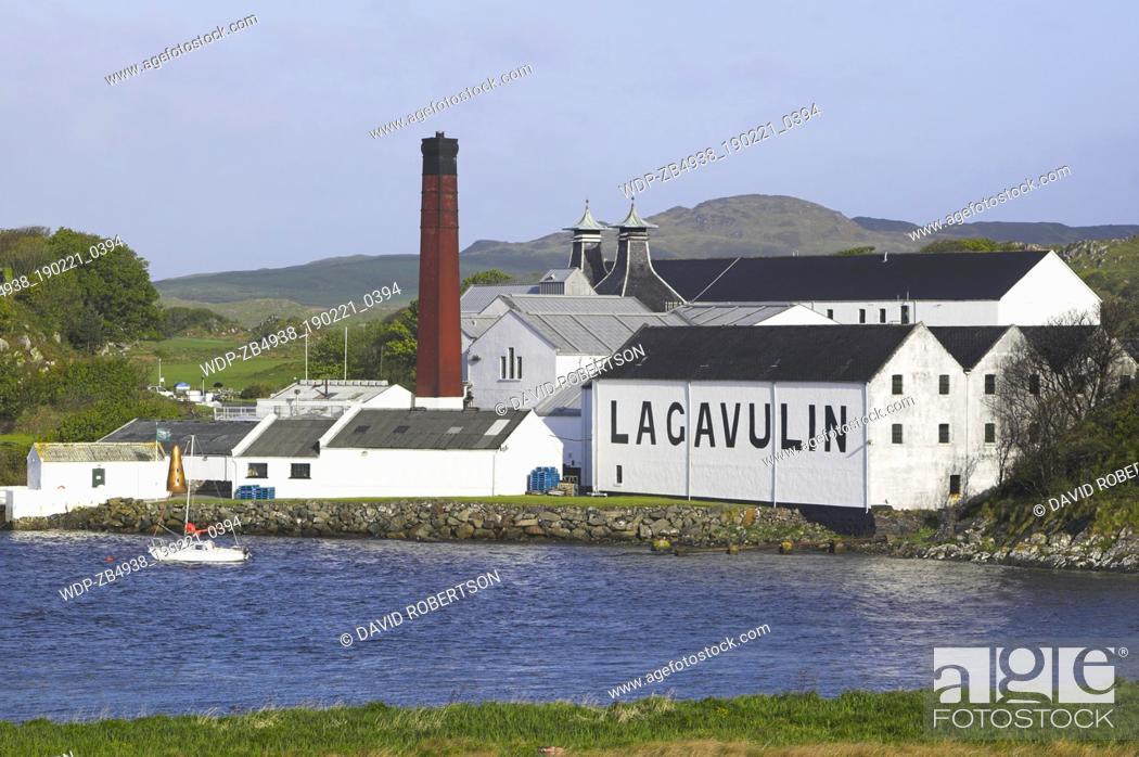 Stock Photo: Lagavulin Distillery, near Port Ellen, Isle of Islay, Argyll and Bute.