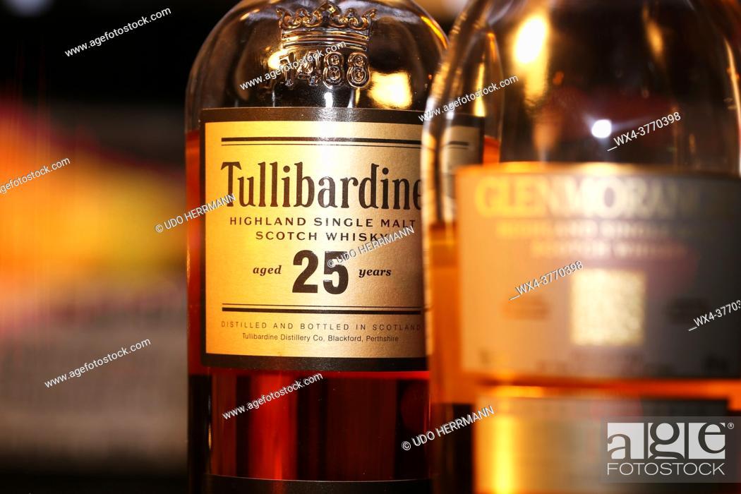 Stock Photo: Close up of bottle of Whiskey Tullibardine Single Malt 25 Years.