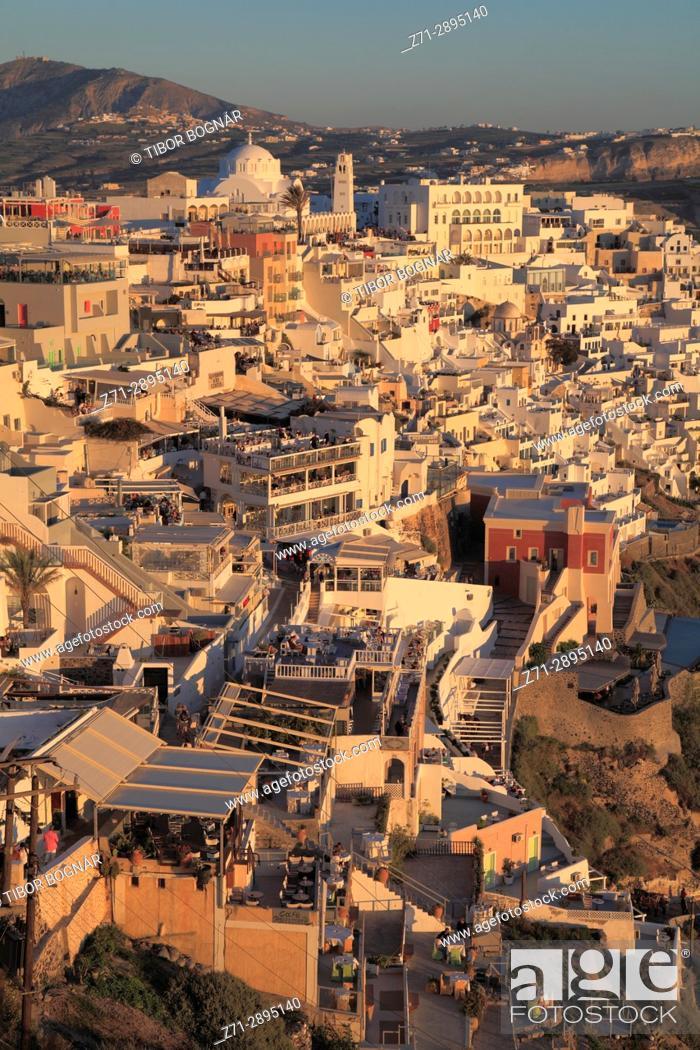 Stock Photo: Greece, Cyclades, Santorini, Fira, skyline, general view.
