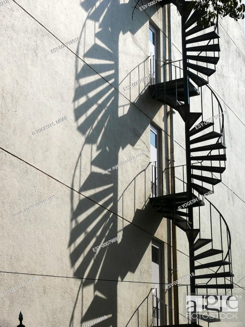Stock Photo: Shadow with a curved staircase made in mild steel.