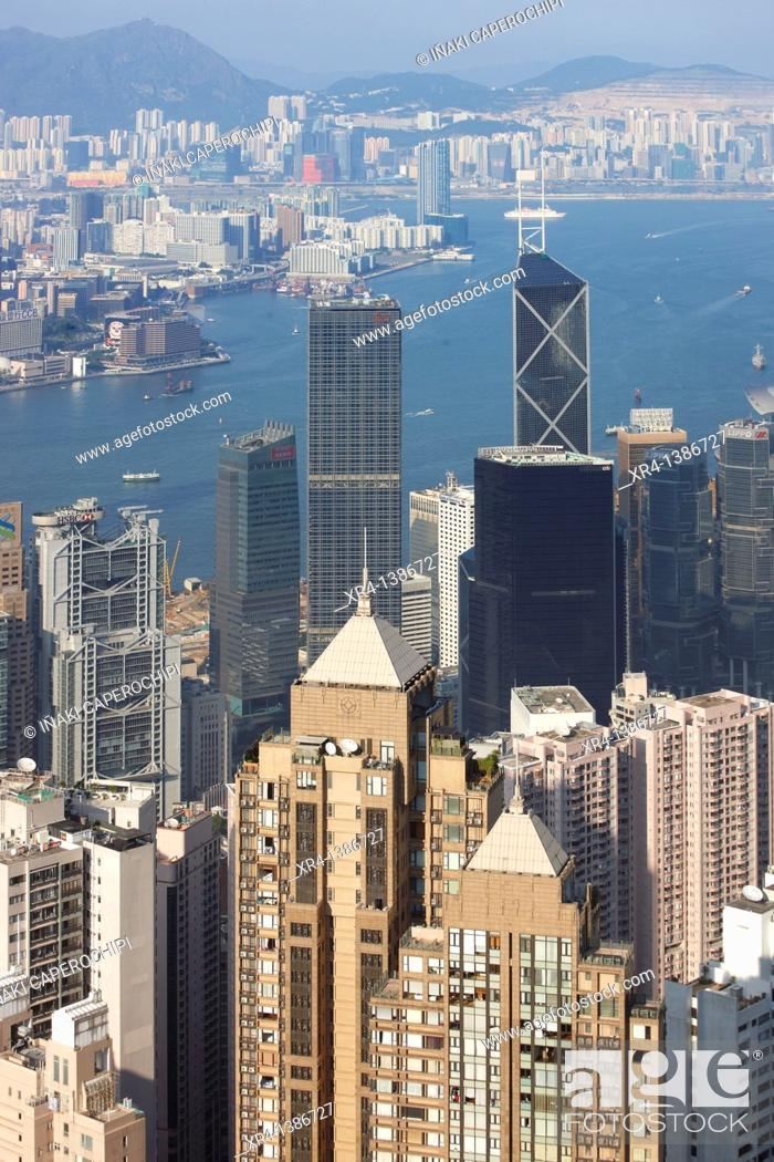 Stock Photo: Panoramic Bay of Hong Kong from Victoria Peak Tower, Victoria Peak Tower, Hong Kong, China.