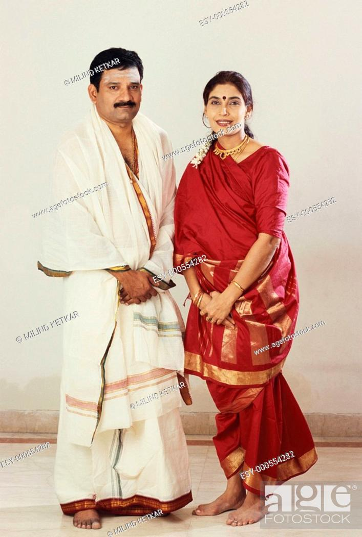 Stock Photo: South Indian husband and wife MR588.