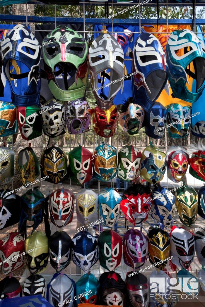 Stock Photo: Rows of Lucha Libre masks for sale.