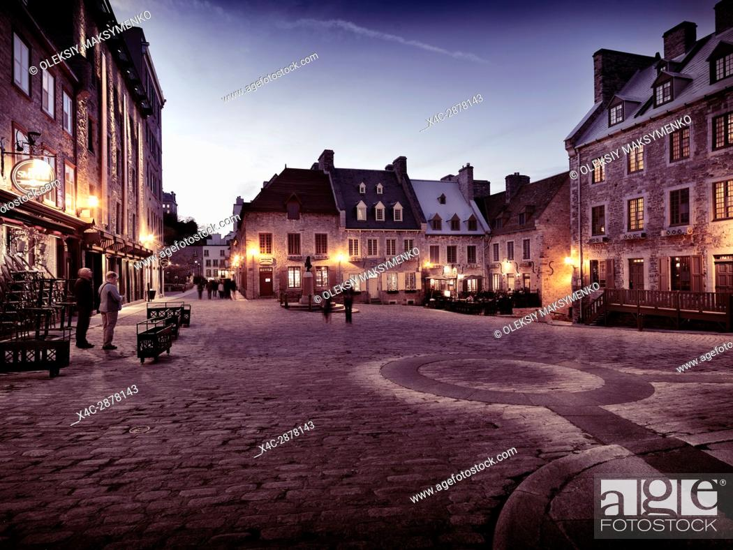 Stock Photo: Nighttime view of Place Royale, Royal Square with boutiques and restaurants. Old Quebec City. Quebec, Canada. Ville de Québec.