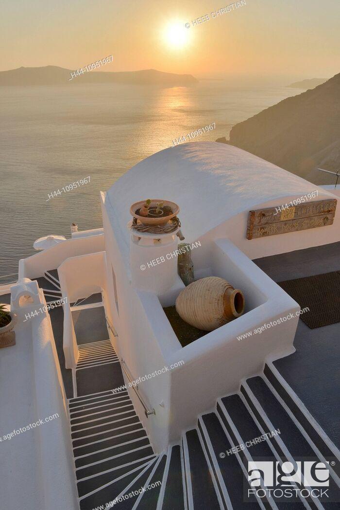 Stock Photo: Europe, Aegean, Cyclades, Greece, Santorini, Thira, Island, Greek, Thira, stair, steps, sunset, sun, sea, travel, destination, icon, resort, hotel.