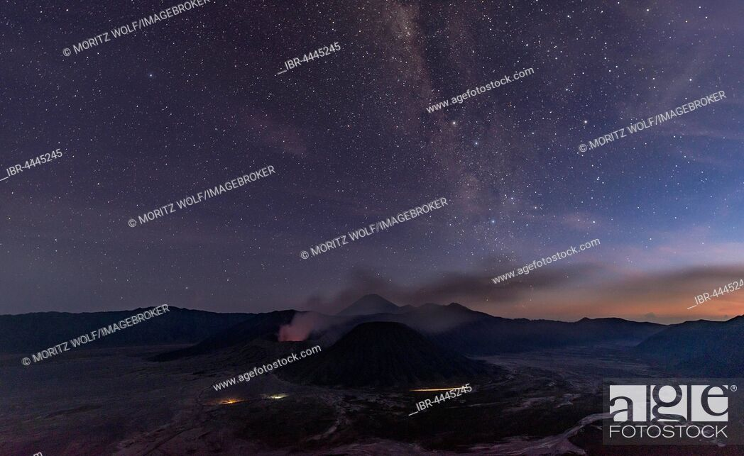 Stock Photo: Night sky with stars, smoking volcano Mount Gunung Bromo, Mount Batok in front, Mount Kursi at back, Mount Gunung Semeru, Bromo Tengger Semeru National Park.