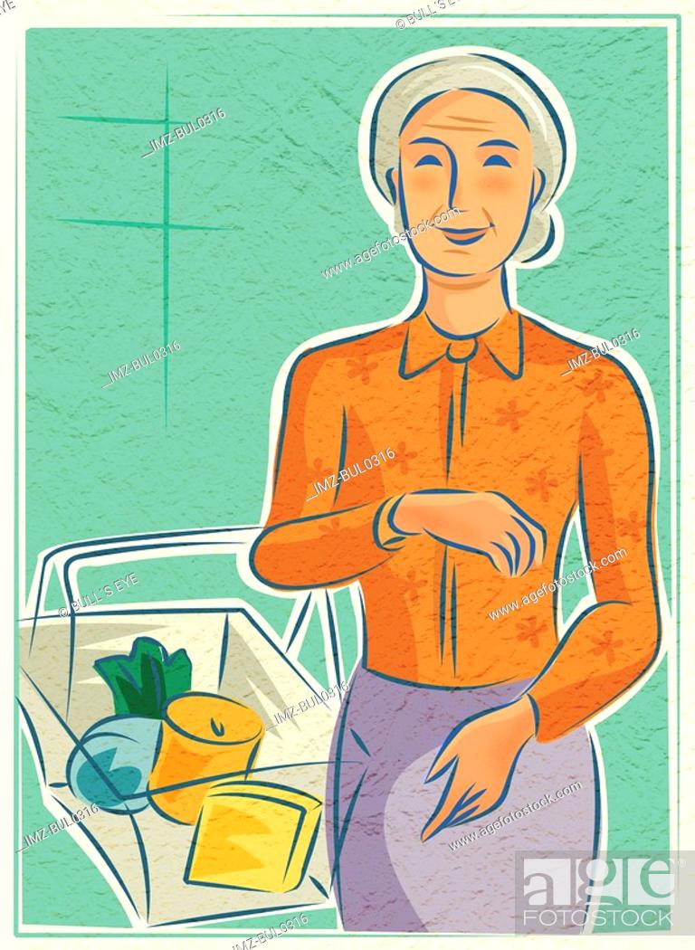 Stock Photo: An elderly woman with a basket of groceries.