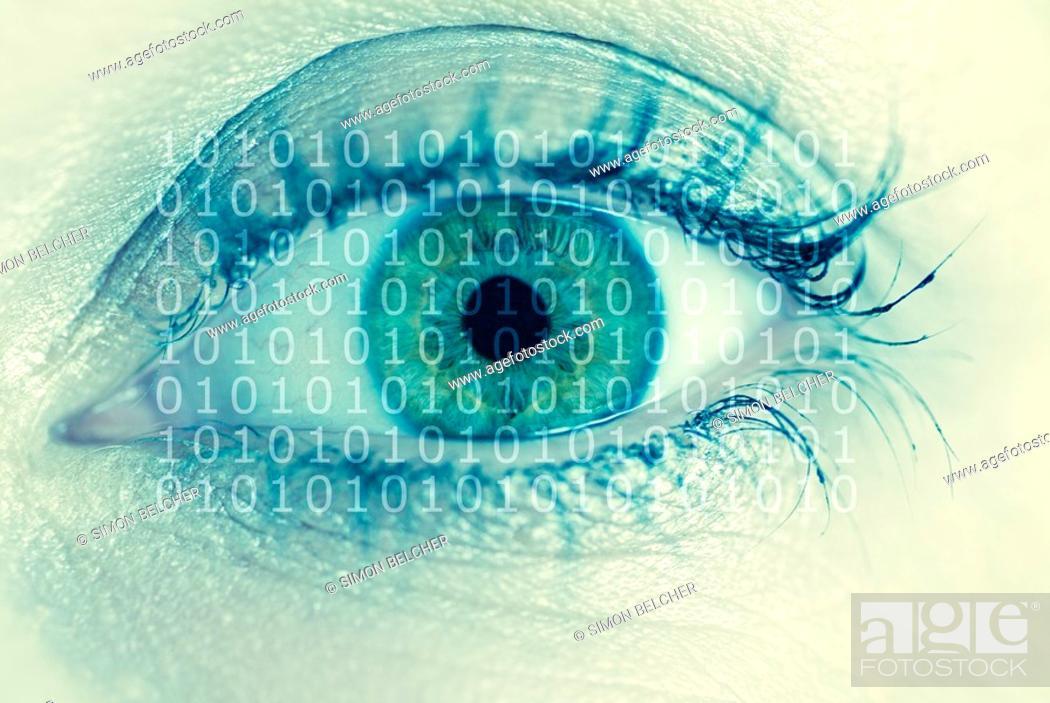 Stock Photo: Human Females Eye with Binary Digits.