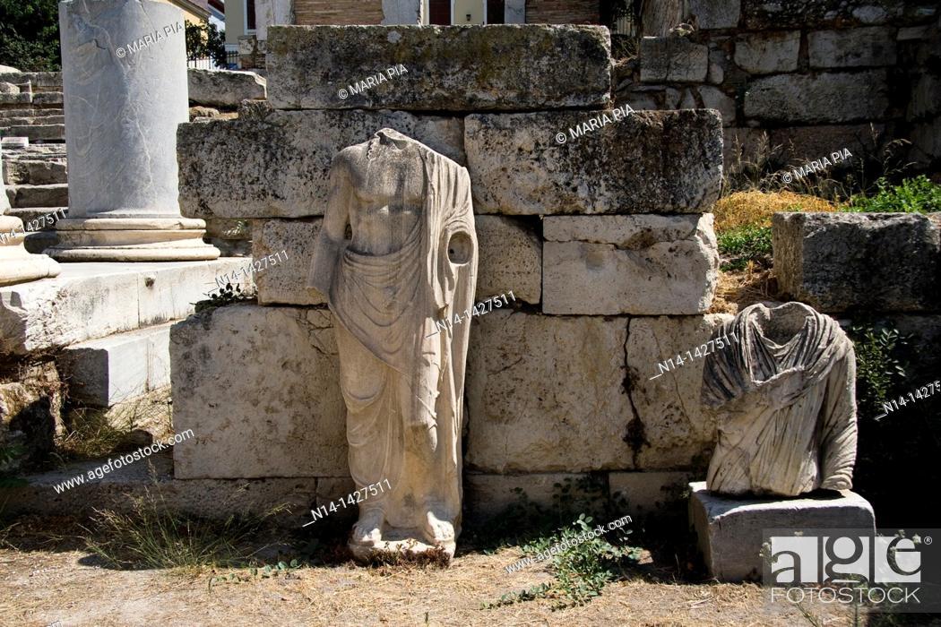 Stock Photo: Two roman sculptures at the Roman Agora, Athens, Greece.