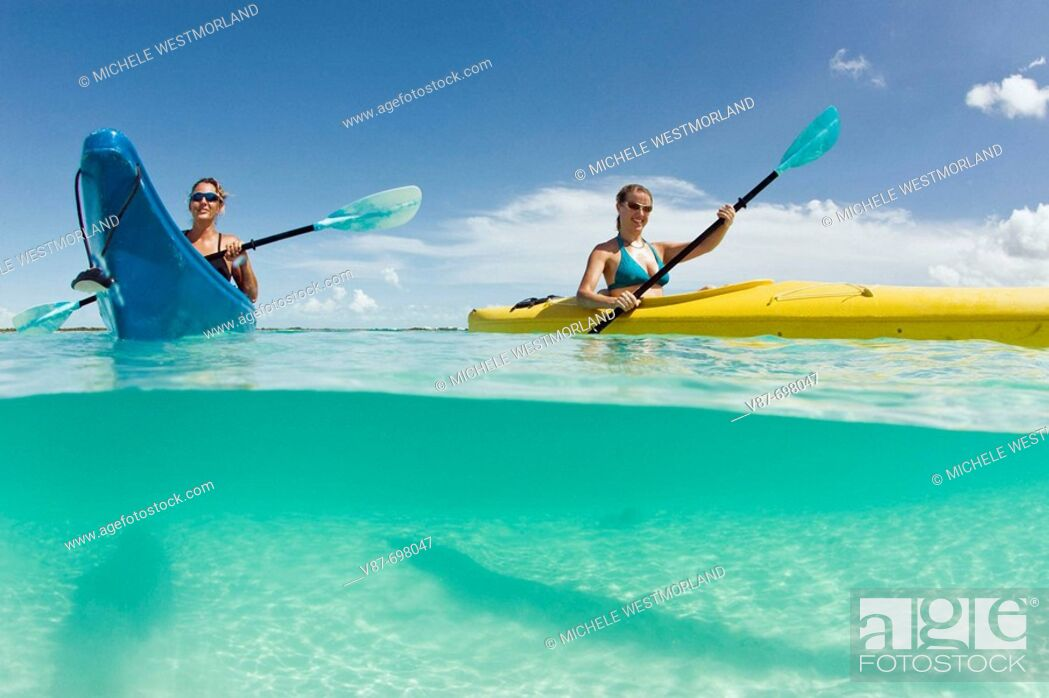 Stock Photo: Kayak tour to Little Water Cay, off Providenciales, Turks and Caicos.