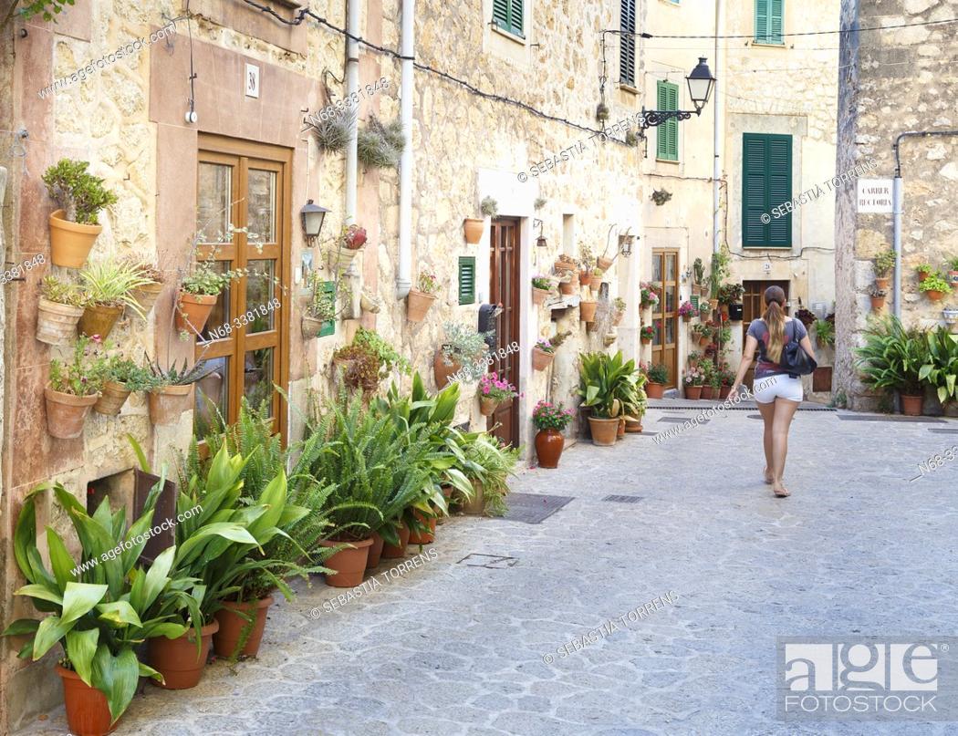 Stock Photo: Streets of Valldemossa adorned with pots, Majorca, Spain.
