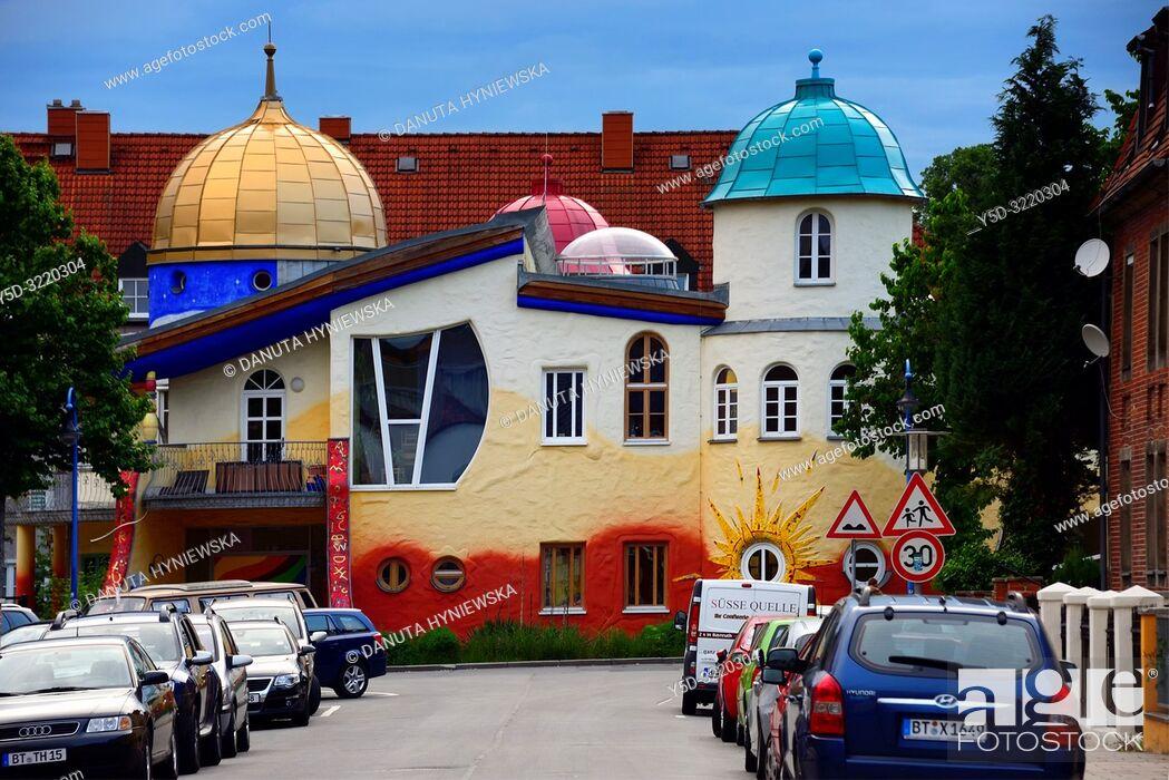 Stock Photo: Kinderhaus Bayreuth at Munckerstrasse, interesting colorful architecture similar to Austrin architect Friedensreich Hundertwasser works by architect Karl-Heinz.