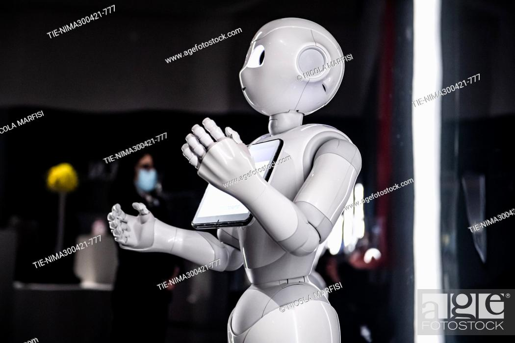 Stock Photo: Exhibition ' Robot The Human Project '. The exhibition retraces the relationship between human beings and their doubles, revealing to the public the results.