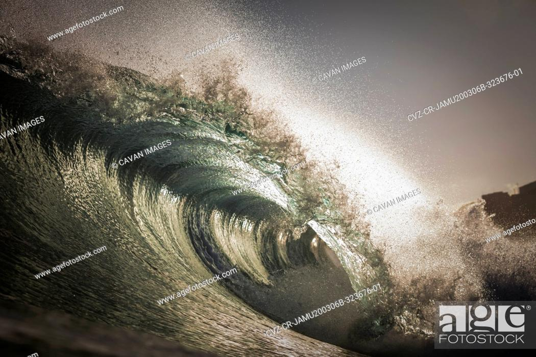 Stock Photo: Wave barreling on the clear waters of the Canary Islands, Spain.