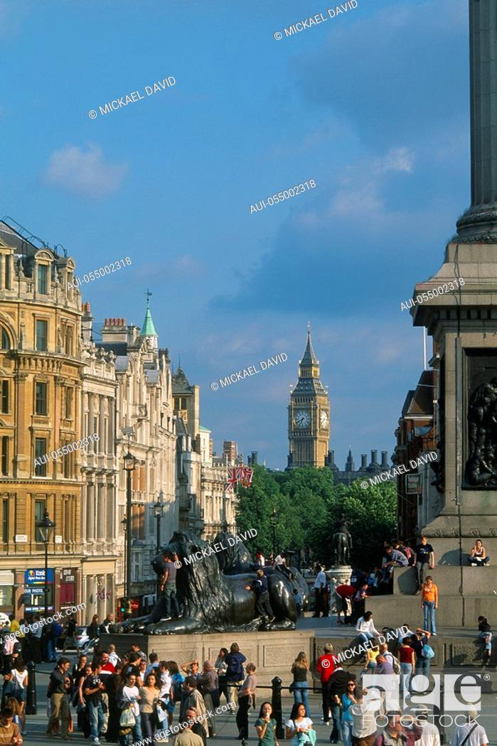 Stock Photo: England - London - St James's district - Trafalgar Square and Whitehall.