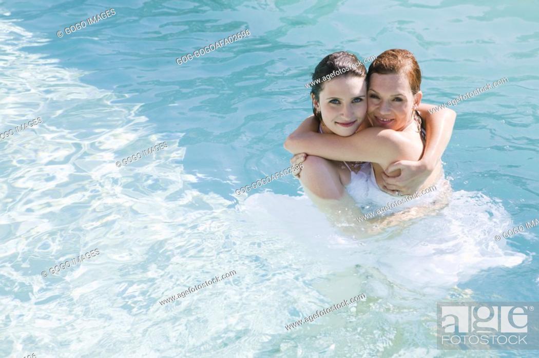 Lesbian intimacy in pool